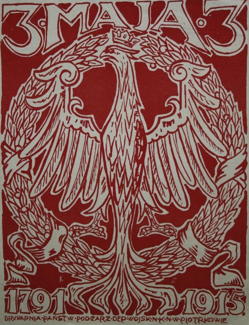 Konstytucja 3 Maja 1791 r. - nalepka z okresu I wojny światowej